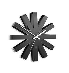 Idea Regalo - Umbra Ribbon Orologio da Parete, Metallo, Nero