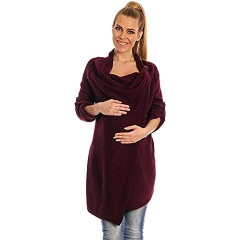 Happy Mama De Las Mujeres Maternidad Cascada Chaqueta Blazer Punto Abrigo Largo Envolver 349p