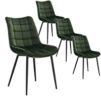 WOLTU Dining Chairs Set of 4 Kitchen Counter Chairs Leisure Lounge Living Room Corner Chairs Dark Green Velvet Reception Chairs with Backrest and Padded Seat