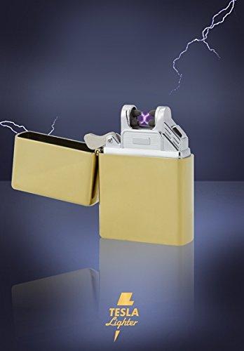 TESLA Lighter T03 | Lichtbogen Feuerzeug, Plasma Double-Arc, elektronisch Wiederaufladbar, Aufladbar mit Strom per USB, Ohne Gas und Benzin, mit Ladekabel, in Edler Geschenkverpackung, Gold