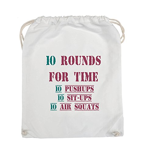 Comedy Bags - 10 Rounds for time 10 pushups 10 sit ups 10 air squats - Turnbeutel - 37x46cm - Farbe: Schwarz / Weiss-Neongrün Weiss / Fuchsia-Türkis