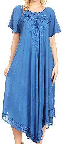 Sakkas 1701 - Lilia gestickter schnüren Sich Oben Mieder Relaxed Fit Maxi Sun Kleid - Blau - OS - Maxi-kleider Blau Für Licht Frauen