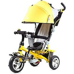 PLDDY sillas de paseo Carrito de triciclos Carrito de bebé Niños/Cochecito Cochecito/Bicicleta de bebé Triciclo, 1-6 años Coche de bebé BICI (Color : Yellow)