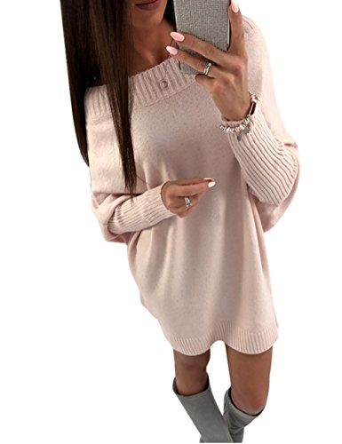 Junshan Top Femme Pull Robe Chandail Robe T-shirt Casual Manches Longue Oversize Sweater Automne Hiver Jupe à Manches Longues Loose Rose clair