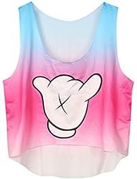 YiLianDa Mujeres Tapas del Tanque Sin Mangas Camiseta Interesante Impresión Chaleco del Verano Top Blusa Tank Tops Ocasionales Lindas