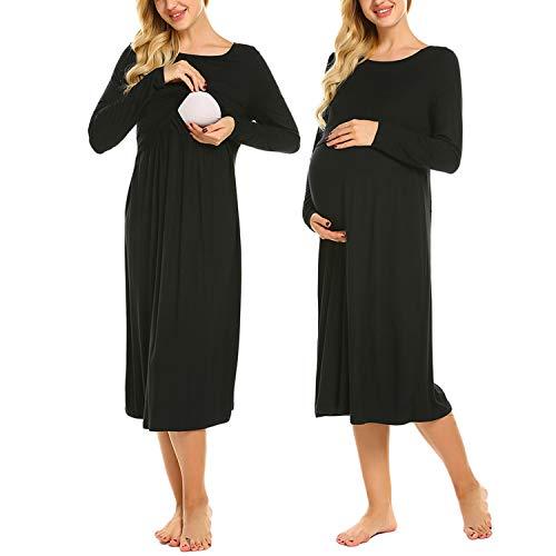 MAXMODA Still-Nachthemd für Schwangere Nachthemd-Nachtwäsche Zum Stillen