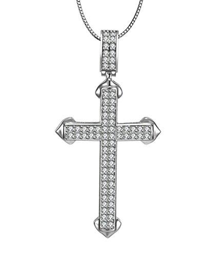 Aooaz Femmes Mesdames Argent Pendentif Collier Croix Amour Fleur CZ Collier Argent014