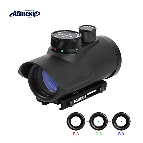 AOMEKIE Softair Red Dot Visier für 11mm/22mm Schiene Leuchtpunktvisier Rotpunktvisier mit Schutz und Tactical 3 Reticles für Jagd Softair und Armbrust (Airsoft Gun Sight Red Dot)