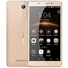 LEAGOO M8 - 5.7 pulgadas 2.5D IPS Corning Gorilla Glass 4 Phablet Android 6.0 teléfono inteligente Quad Core 1.3GHz 2GB RAM 16GB 8MP + 13MP Cámara Huella digital - oro