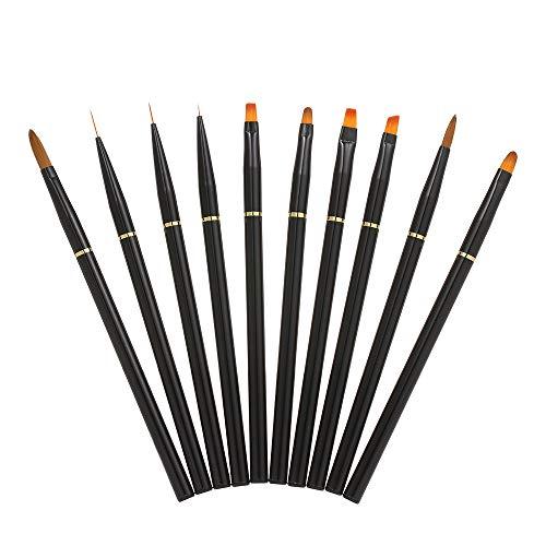 Anself Gel Pinsel, 10Pcs Gelnagel Pinsel, gelnägel pinselset, Nagel Pinsel Set, pinsel nägel Nagel Kunst Malerei Zeichnung Pinsel für UV-Gel und Acrylfingernägel