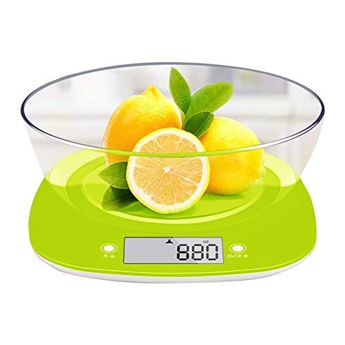 Digital lcd kitchen kitchen household pesatura di bilance da cucina con ciotola design sottile huyp (colore : verde)