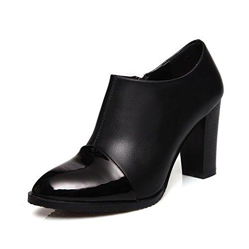 AllhqFashion Damen Spitz Zehe Hoher Absatz Blend-Materialien Gemischte Farbe Pumps Schuhe Schwarz