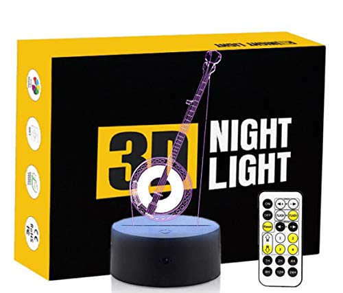 Leisurely Lazy Musical Instrument Shape 3D Optical Illusion Lamp 7 Colors Change Touch Button and Timing Remote Control LED Table Desk Night Light for Home Bedroom Decoration -