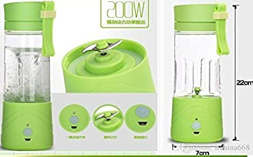 GZQNAN Plastic Juicer Mixer and Grinder Portable USB Chargeable Electric, 380ml, (K Juice Mixer_09, Random Color)