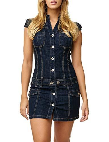 Damen Jeanskleid Freizeitkleid Kurzarm Jeans Rock Overall D2518, Farben:Blau, Größe Damen:40 / L
