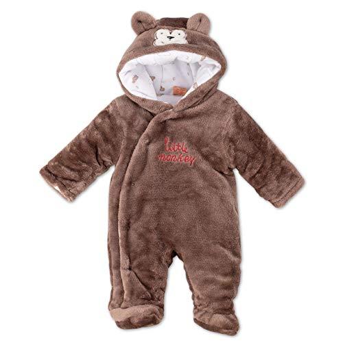 Cheeky Chimp Baby Overall Unisex braun   Motiv: Affe   Tierstrampler mit Kapuze für Neugeborene & Kleinkinder   Größe: 6-9 Monate (68/74)