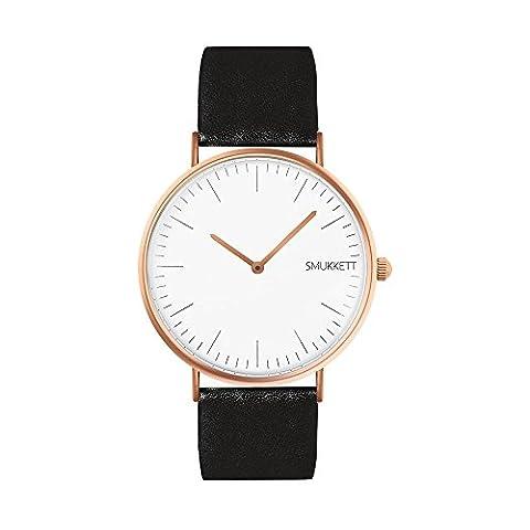 SMUKKETT Charlie-White flache Damen Armband-Uhr Rose-Gold weiß mit Leder-Band 36 mm Quarz-Werk Classic-Watch