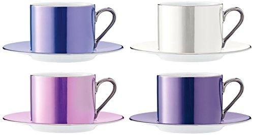 LSA International 0,25 l Pois Tasse à thé et Soucoupe, Couleurs Assorties (Lot de 4)