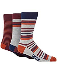 Green Treat Pack Of Three Assorted Striped Socks