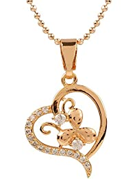 Ananth Jewels Heart Shaped Rose Gold Plated Pendant Necklace For Women - B073T47KR5