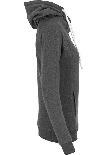 Urban classics pull pour femme à col à capuche et à manches raglan Noir (Charcoal)