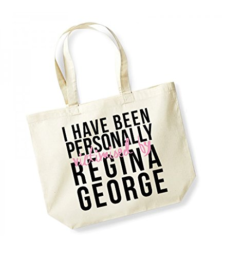I Have Been Personally Victimised by Regina George - Large Canvas Fun Slogan Tote Bag Natural/Black