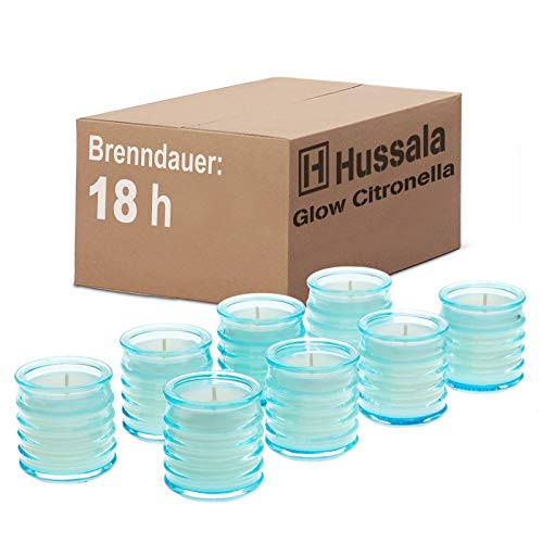 Hussala Glow Citronella Outdoorkerze Glas (blau) - Brennzeit 18 h [8 Stück]