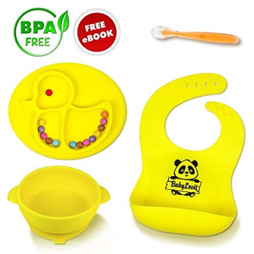 r und Rutschfester Kinderteller - geprüfter Esslernteller - Babyteller- Babygeschirr Teller für Baby und Kleinkinder Rutsch und Saugfest aus Silikon (Gelbe Set) ()