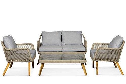 Lanterfant - Loungeset Sara, Weiß, Gartengarnitur, Gartenmöbel-Set, Sitzgruppe, 4 Sitze,...