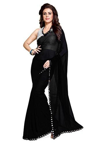 Mirchi Fashion da donna specchio bordo ultima indiano Saree Unstitched Blouse Piece Black Taglia Unica