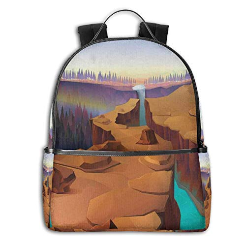 College Backpacks for Women Girls,Cartoon Canyon Landscape with Distant Forest Tree Silhouettes National Park,Casual Hiking Travel Daypack -