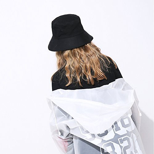 Imagen de isiyiner sombrero del pescador algodón plegable bucket hat unisex al aire libre negro alternativa