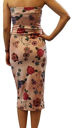 Chocolate Pickle® Nouveau Dames Sans bretelles Boobtube Bodycon Midi Robe Imprimé Bandeau Floral Robe 36-50 Nude Floral