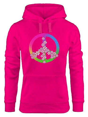 Hoodie Damen Peace Zeichen Flower Power Symbol Sweatshirt Kapuze Kapuzenpullover Moonworks® pink L (Rosa Zeichen Symbol Peace)