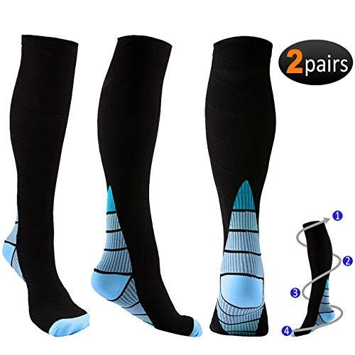 Calcetines de compresión para hombre y mujer, 2 pares (20 – 30 mmHg) – Gran ajuste atlético para correr, enfermeras, embarazo de maternidad, Edema, viajes, embarazo y espinillas.