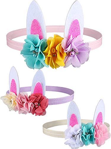Blulu 3 Stück Oster Hasen Ohren Stirnband Baby Kleinkinder Kleinkinder Ostern Stirnbänder für Ostern Party Dekoration (Stil 1)
