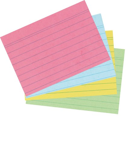 Herlitz A6 Ruled Record Card - Assorted Colours (200 Pieces) Test