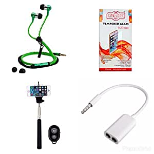 KONARRK 4 in 1 Combo of Selfie Stick Black, Zipper Earphones Green, Handsfree Splitter White and Tempered Glass for LENOVO A850