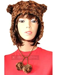 Ladies Teens Winter Warm Faux Fur Animal Bear Trapper Hat with Ears & Pom Poms