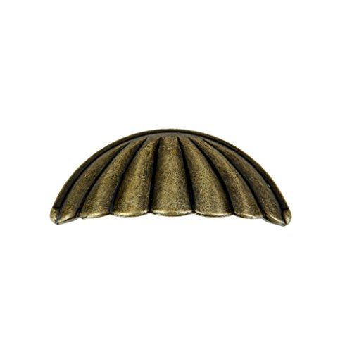 Imported Antique Brass Shell Knob Cupboard Door Cabinet Drawer furniture Pull Handle  available at amazon for Rs.110