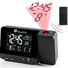 Idea Regalo - Orologio con Proiezione, Houzetek sveglia digitale LED con Schermo LCD a Display Temperatura e Data e Previsioni del Tempo con Luce Regolabile, Funzione di Snooze e Doppio Allarme e 12/24 Ora