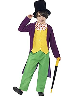 Smiffys Roald Dahl Willy Wonka Costume with Top/Trousers/Bow Tie/Hat and Cane - Parent