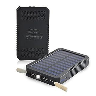 Aznoi 12000mAh Solar Ladegerät mit Dual USB, tragebar Powerbank für iPohne, iPad, IPod,Samsung, HTC,Sony, PSP, Digitalkameras und die über USB Wiederaufladbare Produkte. (Schwarz)