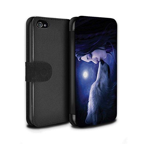 Officiel Elena Dudina Coque/Etui/Housse Cuir PU Case/Cover pour Apple iPhone 4/4S / Balançoire Jardin Design / Un avec la Nature Collection Baiser de Lune