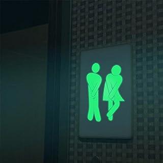 Blulover Amovible Homme Femme Drole Modele Incandescent Toilette Salle De Bain Mur Autocollant Porte Toilettes Decor -B