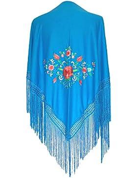 La Señorita Mantones bordados Flamenco Manton de Manila Azul con flores