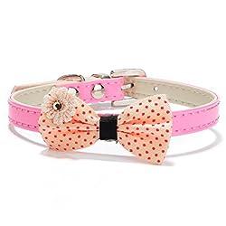 Pawzone Polka Dots Bow Cat Collar-Pink
