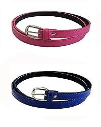 Glamio Girl's PU Leather Belts Set of 2 Combo (Pink & Blue)(GLA/WOMENBELTS1/PIBLU)