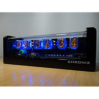 Nixie Clock 6 IN-12 tubes black glossy case /& alarm /& blue LED steampunk retro