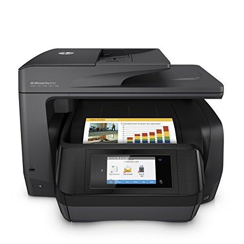 HP OfficeJet Pro 8725 (K7S35A) Stampante Multifunzione a Getto di Inchiostro Stampante, Scanner, Fotocopiatrice, Fax, Wi-Fi, Ethernet, USB e NFC, con 3 Mesi di HP Instant Ink inclusi, Nera